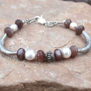 Pearl Chocolate Moonstone Sterling Silver Bracelet